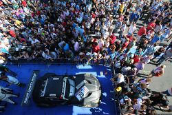Second place overall Abdulaziz Al Faisal, Max Sandritter, Dominik Baumann, Pixum Team Schubert, BMW