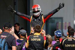 Race winner Marco Sorensen celebrates