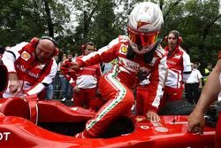 Kamui Kobayashi drives the Ferrari F1 around Moscow