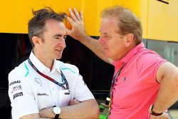 (L to R): Paddy Lowe, Mercedes AMG F1 Executive Director, with Jonathan Palmer