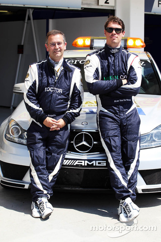 (L to R): Dr Ian Roberts, FIA Doctor with Alan Van Der Merwe, FIA Medical Car Driver