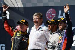 Kimi Räikkönen, Lotus F1 Team ; Ross Brawn, Mercedes AMG F1 ; Lewis Hamilton, Mercedes AMG F1 ; Sebastian Vettel, Red Bull Racing