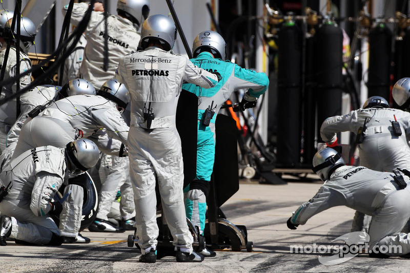 Mercedes AMG F1 await a pit stop