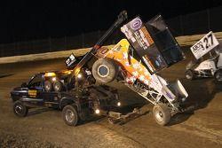 Wrecked car of Cal Hawks
