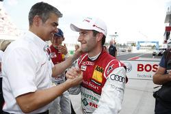 Dieter Gass, chefe da Audi DTM, Dr. Wolfgang Ullrich, chefe da Audi Motorsport e Mike Rockenfeller,