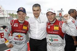 Mattias Ekström, Dieter Gass, head of Audi DTM, and polesitter Mike Rockenfeller