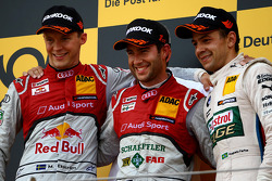 El podio, segundo lugar Mattias Ekström, Audi Sport Team Abt Sportsline, Audi A5 DTM; Primer lugar M
