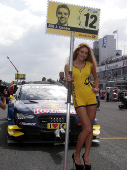 Grid girl of Jamie Green, Audi Sport Team Abt Sportsline Audi RS 5 DTM