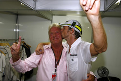Jenson Button, Brawn GP and an emotional John Button celebrate