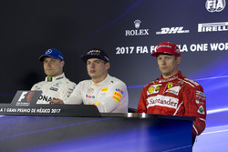 Second place Valtteri Bottas, Mercedes AMG F1, winner Max Verstappen, Red Bull Racing, third place Kimi Raikkonen, Ferrari in the Press Conference