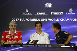Maurizio Arrivabene, Ferrari Team Principal, Toto Wolff, Mercedes AMG F1 Director of Motorsport, Christian Horner, Red Bull Racing Team Principal
