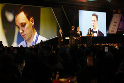 David Coulthard interviews the winner of the Williams Engineer of Future Award, as Paddy Lowe, Williams Formula 1 looks on
