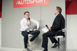 Gus Greensmith, British Rally Junior Champion on the Autosport stage with Henry Hope-Frost