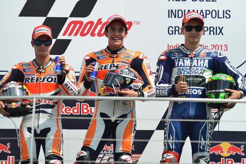 Le podium du GP d'Indianapolis 2013 : Marc Márquez, Dani Pedrosa, Jorge Lorenzo