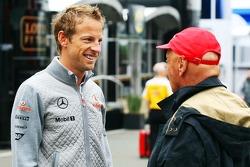 Jenson Button, McLaren with Niki Lauda, Mercedes Non-Executive Chairman