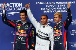 Classificação parc ferme, Red Bull Racing, terceiro; Lewis Hamilton, Mercedes AMG F1, pole position;