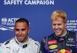 Lewis Hamilton, Mercedes Grand Prix and Sebastian Vettel, Red Bull Racing