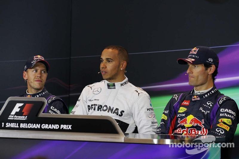 Coletiva pós-treino, Red Bull Racing, segundo; Lewis Hamilton, Mercedes AMG F1, pole position; Mark