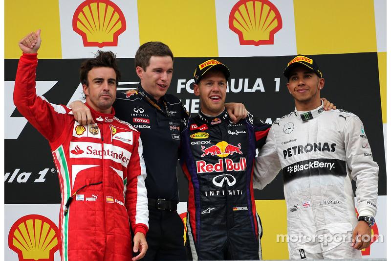 2013: 1. Sebastian Vettel, 2. Fernando Alonso, 3. Lewis Hamilton