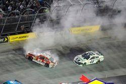 Crash for David Reutimann, BK Racing Toyota and Jimmie Johnson, Hendrick Motorsports Chevrolet