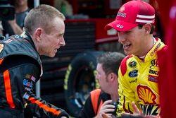 Mark Martin, Stewart-Haas Racing Chevrolet and Joey Logano, Penske Racing Ford