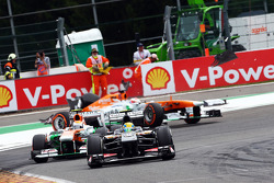 Esteban Gutierrez, Sauber leads Adrian Sutil, Sahara Force India as Paul di Resta, Sahara Force India retires from the race after colliding with Pastor Maldonado, Williams