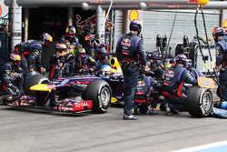 Sebastian Vettel, Red Bull Racing makes a pit stop