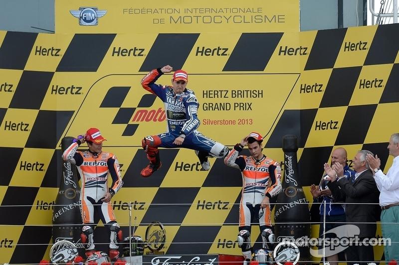 Le podium : Jorge Lorenzo, Marc Márquez, Dani Pedrosa