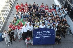 Drivers group photo for the FIA Action for Road Safety