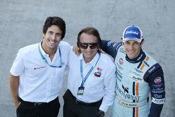 Lucas di Grassi, met Emerson Fittipaldi, en Bruno Senna, Aston Martin