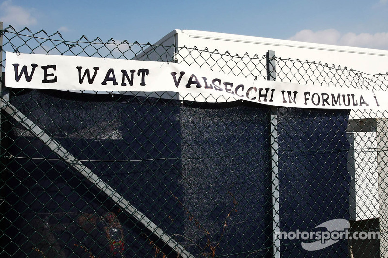 A banner of support for Davide Valsecchi, Lotus F1 Third Driver