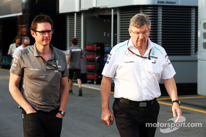 (L naar R): Andrew Shovlin, Mercedes AMG F1 Engineer met Ross Brawn, Teambaas Mercedes AMG F1