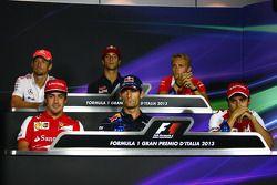 Jenson Button, McLaren; Daniel Ricciardo, Scuderia Toro Rosso; Max Chilton, Marussia F1 Team; Fernando Alonso, Ferrari; Mark Webber, Red Bull Racing; Felipe Massa, Ferrari