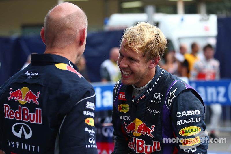 Race winner Sebastian Vettel, Red Bull Racing and Adrian Newey, Red Bull Racing Chief Technical Offi