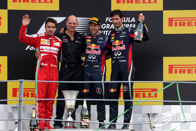 Fernando Alonso, Scuderia Ferrari, Sebastian Vettel, Red Bull Racing and Mark Webber, Red Bull Racing