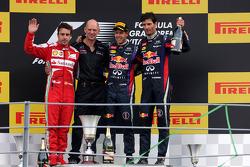 Fernando Alonso, Scuderia Ferrari, Sebastian Vettel, Red Bull Racing and Mark Webber, Red Bull Racing