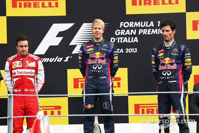 2013: 1. Sebastian Vettel, 2. Fernando Alonso, 3. Mark Webber