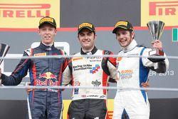 Race winner Jack Harvey, second place Daniil Kvyat, third place Lewis Williamson