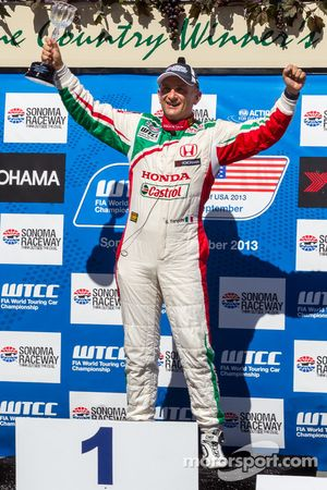 Gabriele Tarquini celebrating after race 2 win