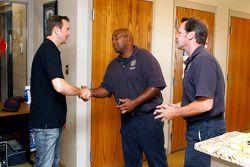 Kurt Busch visits with Kansas City Fire Department personnel