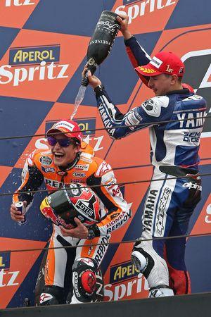 Second place Marc Marquez, race winner Jorge Lorenzo
