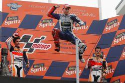 Race winner Jorge Lorenzo, Yamahaa Factory Racing, second place Marc Marquez, Repsol Honda Team, thi