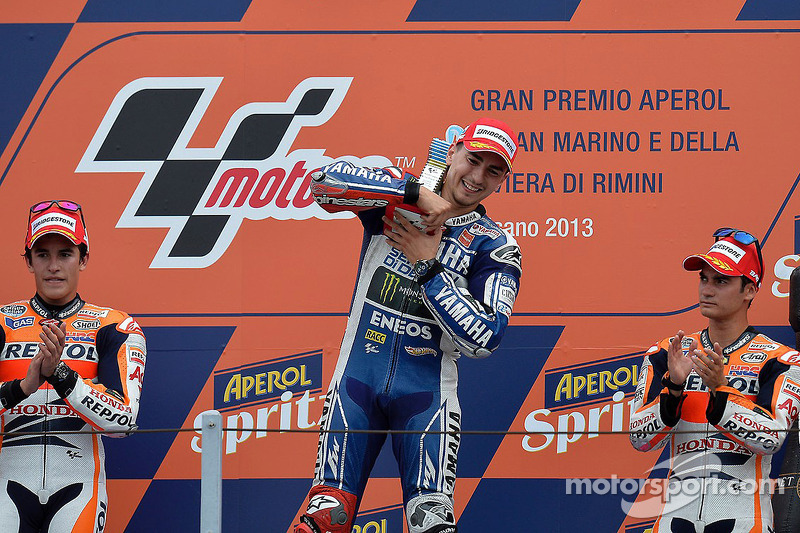 2013: 1. Jorge Lorenzo, 2. Marc Marquez, 3. Dani Pedrosa