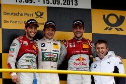Podium, 2e Mike Rockenfeller, Audi Sport Team Phoenix Racing Audi A5 DTM, 1er Augusto Farfus, BMW Te