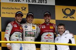 El Podio, Segundo lugar Mike Rockenfeller, Audi Sport Team Phoenix Racing Audi A5 DTM, Primer lugar,
