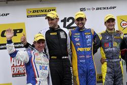 Round 24 Podium; 1e plaats Andrew Jordan, 2e plaats Colin Turkington, 3e plaats Jason Plato, JST Win