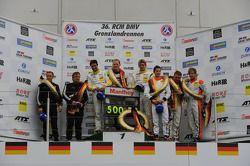 Podium: winners Jochen Krumbach, Jörg Bergmeister, Lucas Luhr, Manthey-Racing, Porsche 911 GT3 RSR