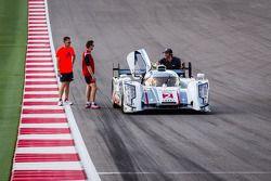 #2 Audi Sport Team Joest Audi R18 e-tron quattro with Tom Kristensen and Allan McNish checking