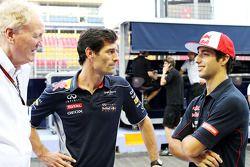 Ron Walker, Chairman do Australian GP Corporation com Mark Webber, Red Bull Racing e Daniel Ricciardo, Scuderia Toro Rosso