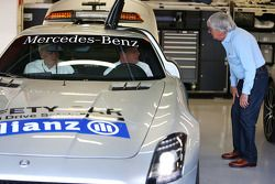 Bernie Ecclestone, CEO Formula One Group, with Ron Walker, Chairman of the Australian GP Corporation and Bernd Maylander, FIA Safety Car Driver in the FIA Safety Car